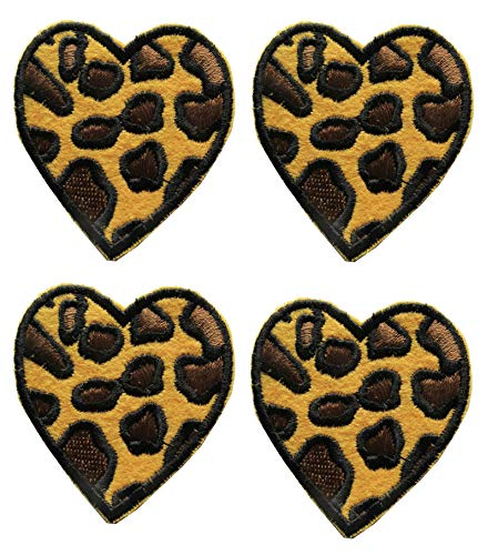 ETDesign #E03550S Leopard Print Heart Embroidery Iron On Applique Patch -1.5' by 1.5' (Small)