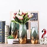 Teresa's Collections Grüne Golde Vase Keramik Vase Kleine Blumenvase Moderne Farbe Tischvase Blumen Pflanzen Vase Keramikvase Deko Garten Dekoration Höhe 20cm Ø10cm(Grün & Gold) - 3