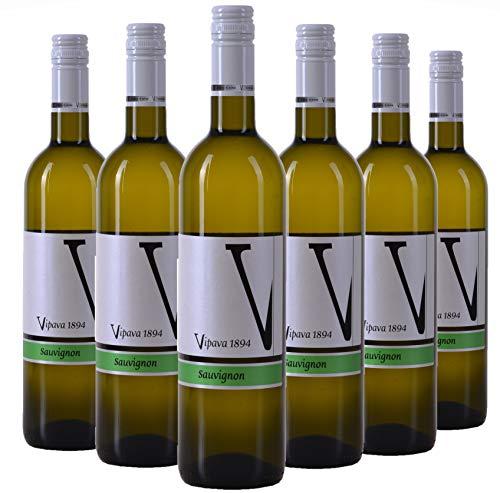 VIPAVA 1894 vino blanco SAUVIGNON 2018, (6 x 0,75 l), vino blanco seco recogido a mano
