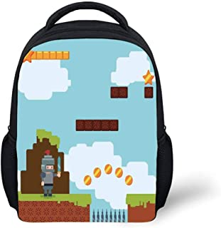 Kids School Backpack Video Games,Arcade World Kids 90s Fun Theme Knight with Sword Fireball Bonus Stars Coins,Multicolor Plain Bookbag Travel Daypack