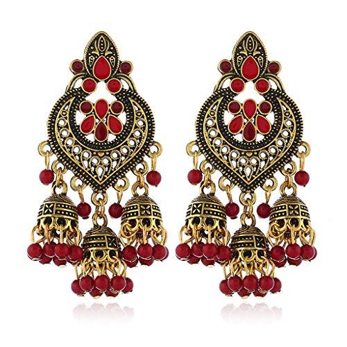 Rryilong Ohrringe Ohrhänger Dame Mädchen Retro Indisches Bollywood Für Bankette Festival Party,1 Paar