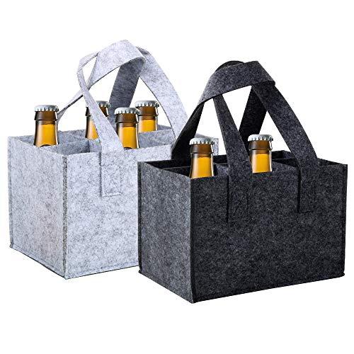 VINFUTUR 2 pz Borsa Porta Bottiglie Acqua 6 Scomparti Borsa per Bottiglia di Vino Birra Borsa di Lattina con Manici in Feltro