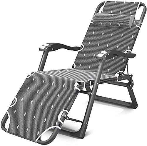 Tumbona plegable para jardín, playa, camping, pesca, reclinable, ajustable, reposacabezas desmontables, reclinables para piscina/exterior, soporta 400 kg (gris)