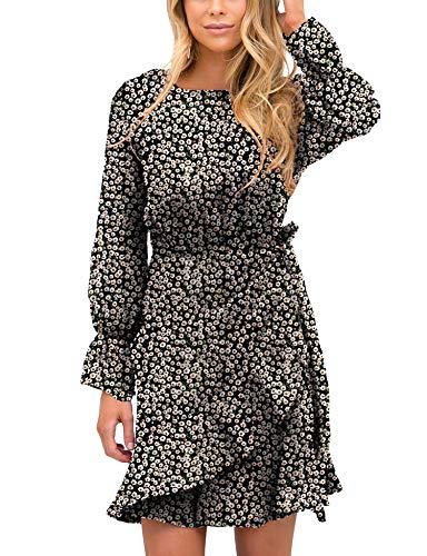 Relipop Women's Dress Polka Dot Print Long Sleeve Crewneck Fishtail Short Dresses (X-Large, Black)