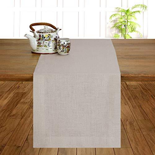 D'Moksha Homes 100% Pure Linen Hemmed Table Runner - 14 x 54 Inch Vintage Natural, Premium Natural Fabric European Flax, Machine Washable, Handmade Dresser Scarf, Mitered Corners, Great Gift Choice