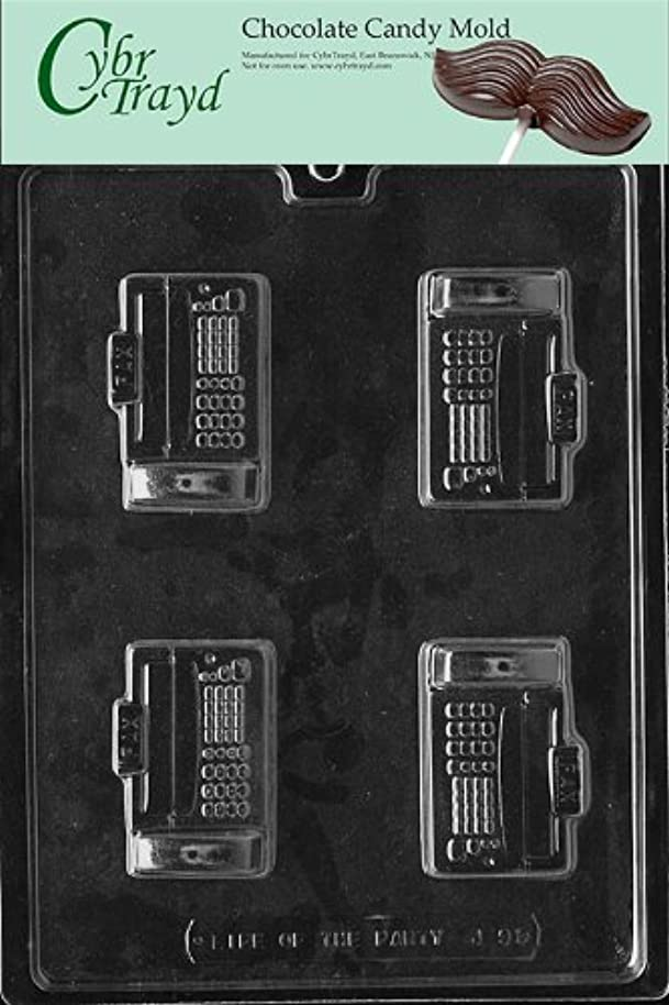 Cybrtrayd Life of the Party J091 Retro Communications Fax Machine Mini Chocolate Candy Mold in Sealed Protective Poly Bag Imprinted with Copyrighted Cybrtrayd Molding Instructions