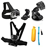 WABIS 7 in 1 Action Camera Accessories Head Strap Mount, Chest Belt Strap Harness Mount and Action Camera Kit with Case For Xiaomi Yi SJ4000/5000/6000 GoPro Hero 5/ 5 Session/4/3+/3/2/1 Akaso Apeman