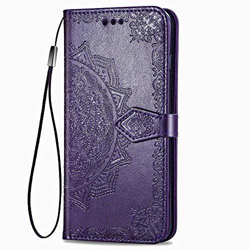 LAGUI Compatible für Motorola One Action Hülle, Schönes Muster Brieftasche Lederhülle (Silikonhülle, 3 Kartenfach, Ständerfunktion, magnetische Verschluss), lila
