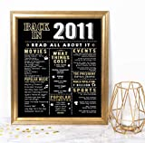 Katie Doodle 10th Birthday Decorations Party Supplies Gifts for 10 Year Old Boy Girl - Includes 8x10 Back in 2011 Sign [Unframed], BD010, Black & Gold