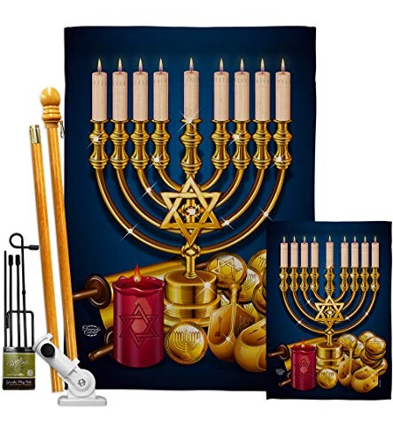 Ornament Collection Jewish Festival Garden House Flag Kit Winter Hanukkah Candle Bonsai Menorah Chanukah David Decoration Banner Small Yard Gift Double-Sided, 1 x 1 x, Thick Fabric
