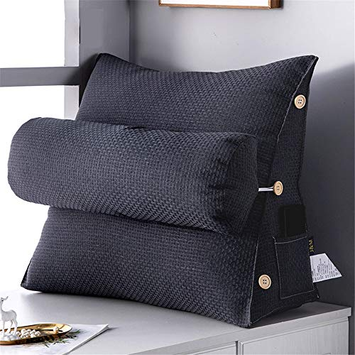 JHKGY Nordic Simple Triangle Pillow Flex Back Support,Neck Support Reading Pillow,Adjustable Back Wedge Cushion,Sofa Bed Office Chair Rest Reading Pillow,Black,45×22×50cm
