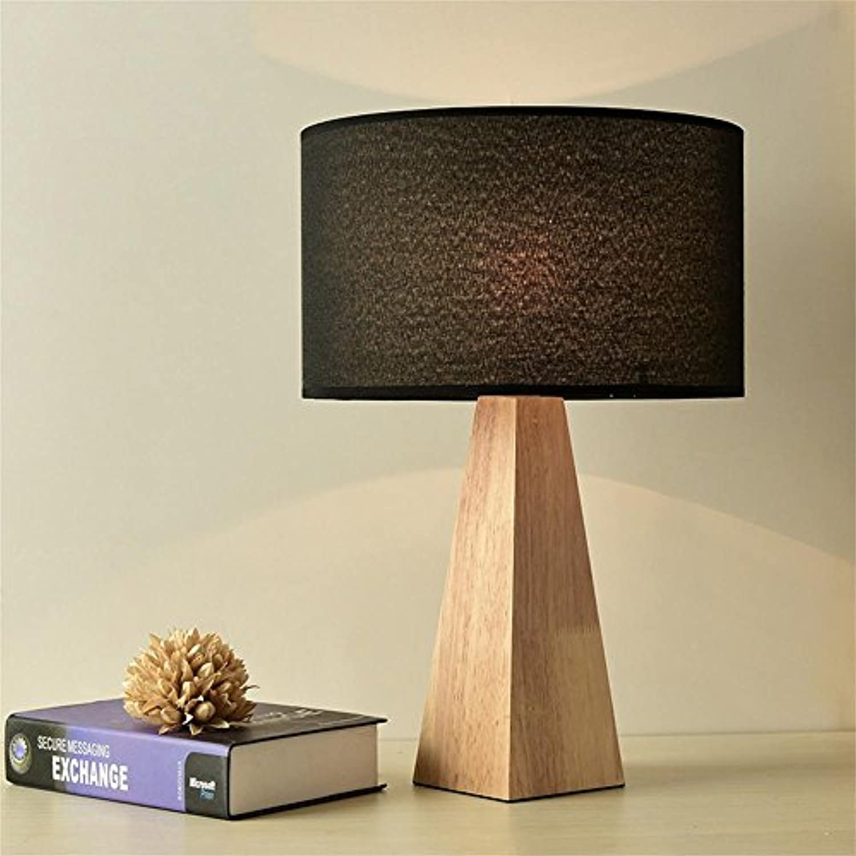 GJ- Warme Schlafzimmer Nachttischlampen Studie Massivholz Lampen Einfache Europische Kreative Holz Tischlampe (Farbe   Schwarz)