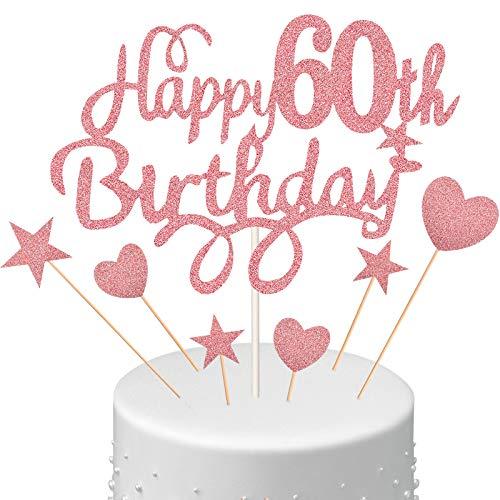 Juego de Toppers de Tarta de 60 Cumpleaños, Adornos de Tarta de Happy 60th Birthday con Palillos de Pastel Magdalenas de Corazón Estrella Decoración Brillante para Fiesta, Dorado Rosado