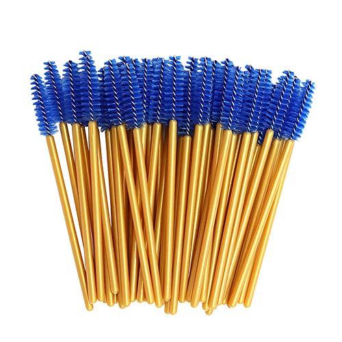 CyFe Lot de 50 baguettes à mascara jetables - Applicateur de cils - Outil de maquillage pour cils - Tige dorée - Bleu