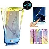 [page_title]-Miagon für Samsung Galaxy A70 Handyhülle 360 Grad Gradient Blau Gelb Transparent Silikon Etui Full Cover Vorne Hinten Rundum Doppel-Schutz Hülle Case Cover