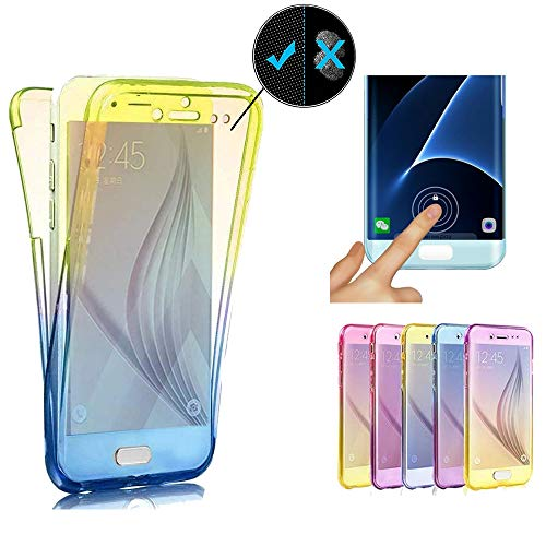 Miagon für Samsung Galaxy A40 Handyhülle 360 Grad Gradient Blau Gelb Transparent Silikon Etui Full Cover Vorne Hinten Rundum Doppel-Schutz Hülle Case Cover