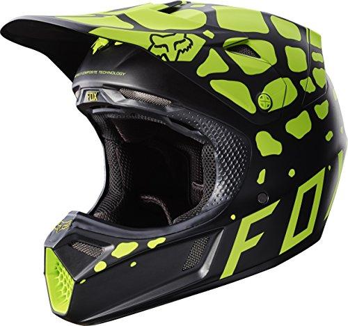 Fox Racing Grav Adult V3 Motocross Motorcycle Helmet - Black/Yellow/Large