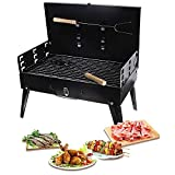Portable Charcoal Grill,Barbecue Tool Set Compact Design Bbq Grill for Outdoor /picnic /camping /patio Backyard Cooking/ Travel Park Beach Party ,black