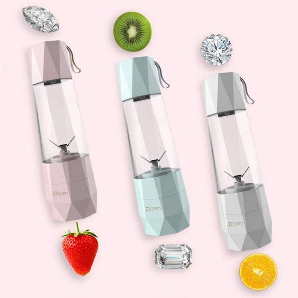 Mezclador Personal Juicer Cup Portable Blender Al Aire Libre Usb Recargable Hogar Fruta Juicer Fabricante Extractor de Frutas 4 Cuchillas 400 Ml, O&YQ, Blanco Rosado