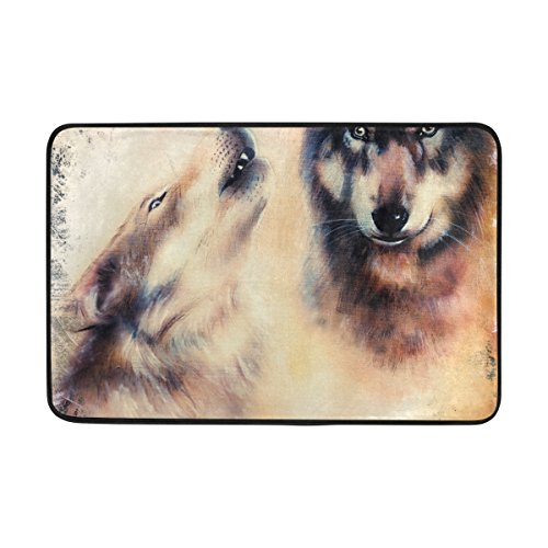 COOSUN Heulen Wolfs Airbrush Malerei Fußmatte, Eintrag Weg Indoor Outdoor Tür Teppich mit Anti-Rutsch-Unterstützung, (23,6 von 15,7-Zoll)
