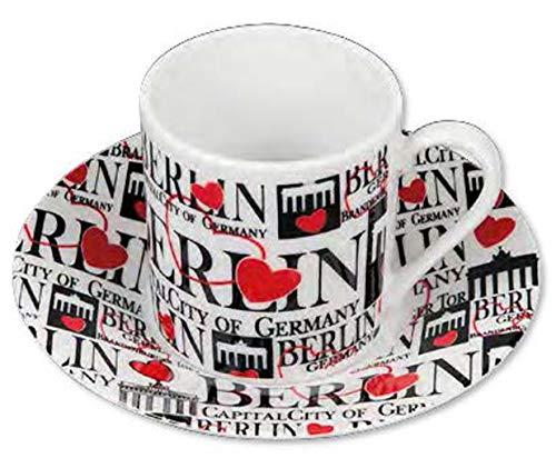 2er Espresso Tassen/Mug/Cup Berlin Schriftzug Souvenir ( 2 Tassen und 2 Untersetzer)