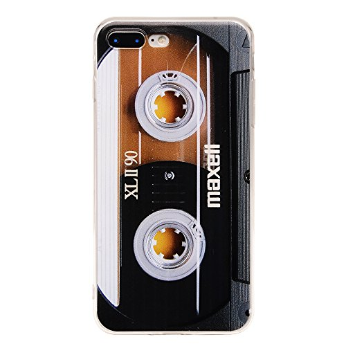 TNCY Bumper Soft TPU Music Cassette Tape Retro 80's Type Amazing Back Cover Phone Case Compatible with iPhone 7 Plus iPhone 8 Plus 5.5 inch