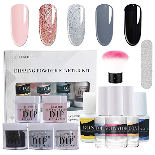 Latorice Dipping Powder Nail starter Kit of 6 color for French Nail Manicure Nail Art Set Essential Kit, 6pc Dipping Powder, 4pc 15ML Liquid, No UV Lamp,Easy to Apply (B)
