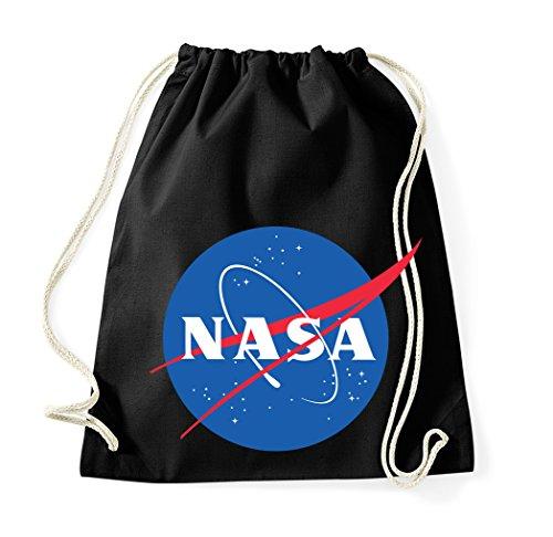 TRVPPY Baumwoll Turnbeutel/Modell NASA/Beutel Rucksack Jutebeutel Sportbeutel Tasche Fashion Hipster/Farbe Schwarz