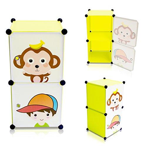 Kinderzimmer Steckschrank - Set aus 2 Modulen, Grün - DIY Steckregal System Regalschrank - Grinscard