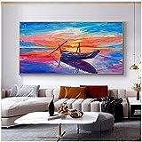 Pknbfw Coltello colorato Pittura a Olio Stampata su Tela Barca Paesaggio Marino Poster e Stampa di Immagini a Parete per la Decorazione del Soggiorno -60x120 cm Senza Cornice