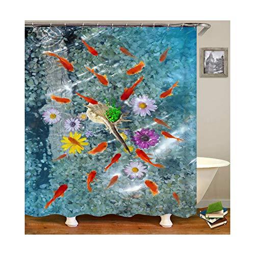 DOLOVE Polyester Duschvorhang Vintage Goldfisch Anti-Schimmel Duschvorhang 3D 90X180 cm