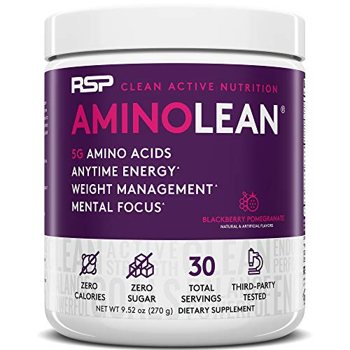 RSP AminoLean - All-in-One Pre Workout, Amino Energy, Weight Management Supplement with Amino Acids, Complete Preworkout Energy for Men & Women, Blackberry Pom