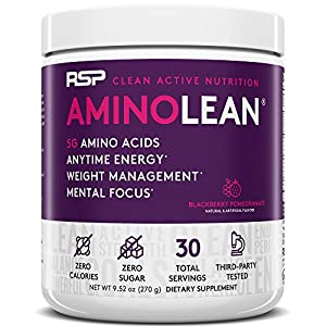 RSP AminoLean – All-in-One Pre Workout, Amino Energy, Weight Management Supplement with Amino Acids, Complete Preworkout Energy for Men & Women, Blackberry Pom, 22.22 oz (Packaging May Vary)