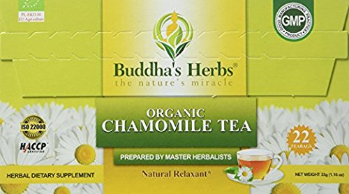 Organic Chamomile Tea - (4 Pack) 22 Count Tea Bags - Digestion and Health Support - Certified Organic by EU Agriculture