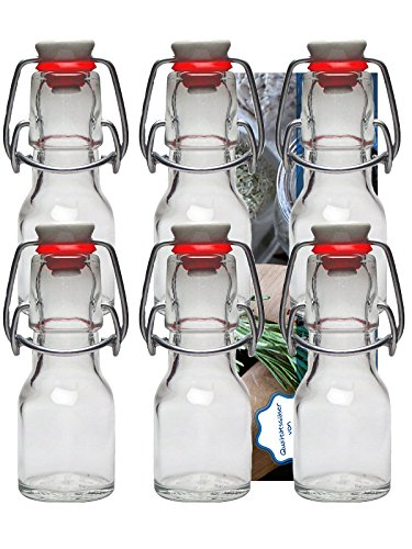 """24er Set Bügelflaschen Bügelflasche Glasflaschen 50ml """" Etiketten """" mit Bügelverschluss Bügelflasche Bügelflaschen zum Selbstbefüllen Vitrea"""