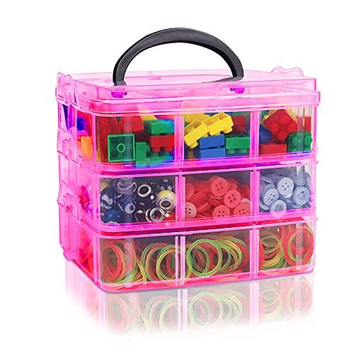 JOKILY Aufbewahrungsbox Sortierbox, 3-Stöckige Aufbewahrungsbox, Perlen sortierbox, Bügelperlen Aufbewahrungsbox, Ideal für Schmuck, Scrapbookingzubehör, Spulen, Perlen, Schmuck, Spielzeug (Rosa)