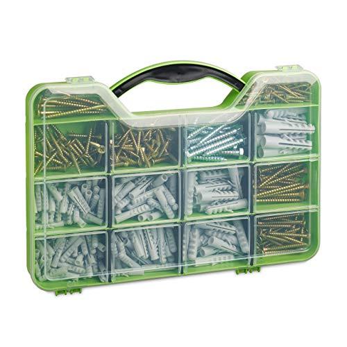 Relaxdays Dübel Schrauben Set, Sortimentskoffer mit Spreizdübeln, Sechskant- & Spanplattenschrauben, 14 Fächer, grün