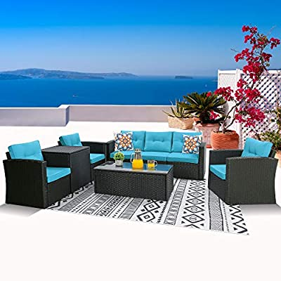 Outdoor Patio Furniture Sets 8-Piece Patio Conversation Sets, Wicker Rattan Sectional Couch Sofa Set with Glass Coffee Table & Storage Box (Black/Blue)