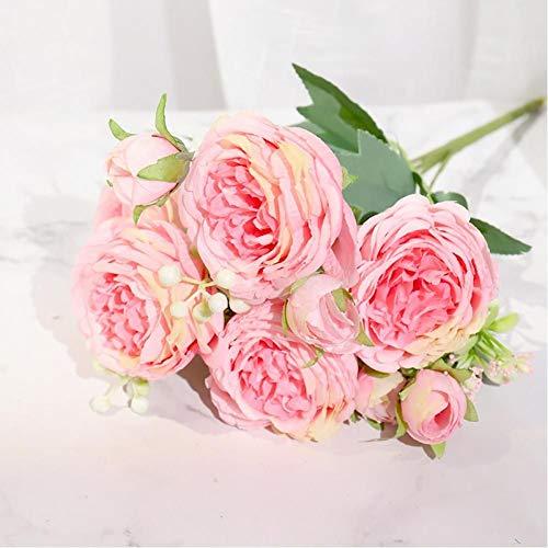 FGHK Flores Artificiales De Peonía De Seda Rosa Rose Wedding Home DIY Decoración Ramo Grande Accesorios De Espuma Artesanía Flor Falsa Blanca