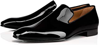 Costoso Italiano Black Patent Leather Formal Dress Loafers for Men