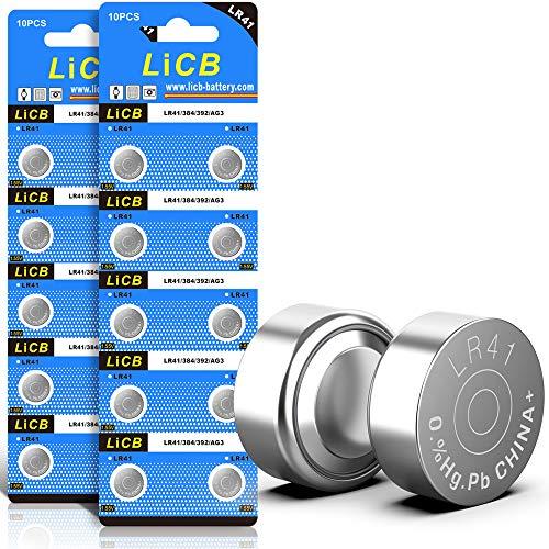 LiCB 20 Stück LR41 knopfzelle batterien, AG3 SR41W 392 1,5V Alkaline Batterie 3 Jahre Lagerfähigkeit 100% Voll Garantie