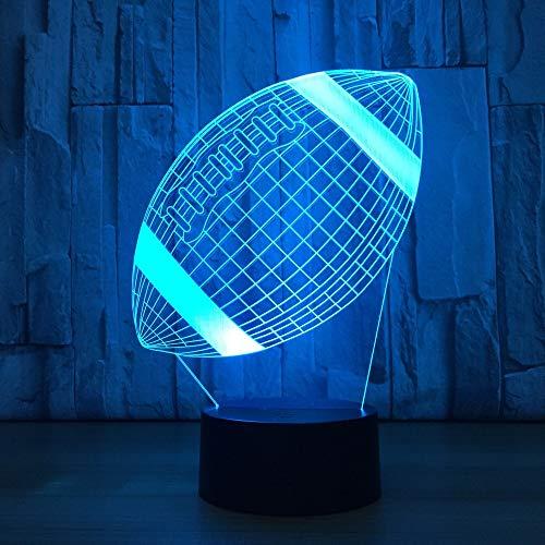 Creativo 3D rugby acrílico USB luz nocturna LED multicolor decoración dormitorio sala...