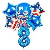 JSJJATF Globos 6 PCS/Set Theme 32 Pulgadas Número de Aluminio Foil Balloons Niños Cumpleaños Fiesta Decoración Suministros Baby Shower (Ballon Size : 18inch, Color : 8)