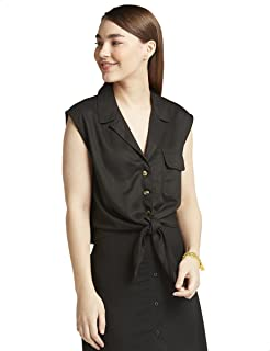 Splash Plain Chest Pocket Front Tie Sleeveless Viscose Shirt for Women XL
