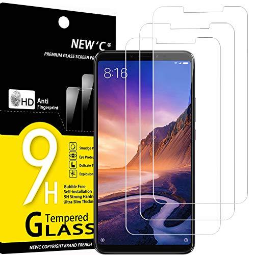 NEW'C 3 Stück, Schutzfolie Panzerglas für Xiaomi Max 3, Frei von Kratzern, 9H Festigkeit, HD Bildschirmschutzfolie, 0.33mm Ultra-klar, Ultrawiderstandsfähig