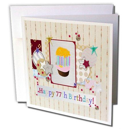 3drose Collage van sterren, cupcake en kaars, Happy 77th verjaardag - wenskaart, 15,2 x 15,2 cm Single (GC 243709 5)