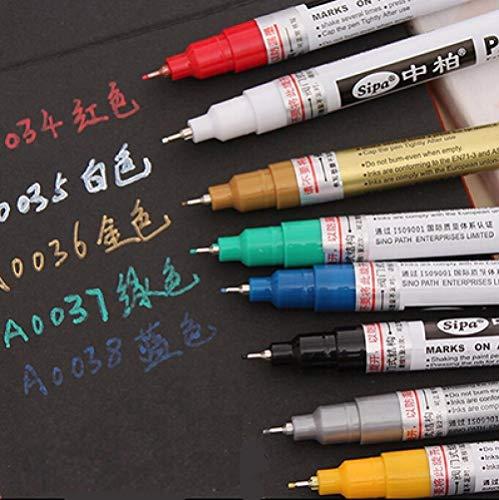 8 Color Pensión Permanente Marcador Pens Aguja Plumas Para Tarjetas, Pintura De Casquillo De Vidrio