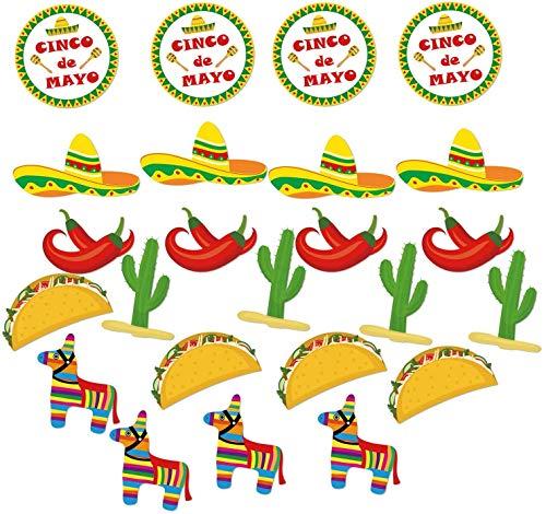 Accesorios para fotos mexicanas de Cinco de Mayo, decoración para fotos de fiestas, accesorios para festivales mexicanos, 24 unidades