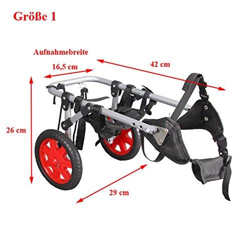 4U-Onlinehandel Hunderollstuhl Größe 1 Rollstuhl Hunde Gehhilfe hinten Hinterläufe Stütze