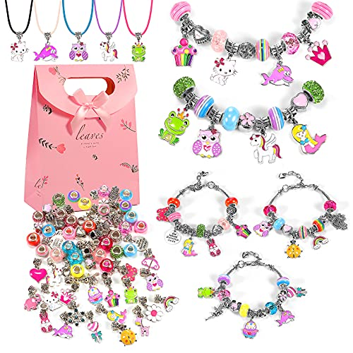 DIY Charm Bracelet Necklace Making Kit for Girls Toys - Easter Gifts for Kids Girls' Jewelry- Cute Bracelets for Teen Girls-DIY Necklaces for Teen Girl Gifts - 7/8/9/10/12 Year Old Girl Gift Package